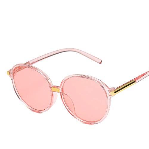 DLSM Marco Redondo clásico Gafas de Sol Mujer Gafas de Sol Gafas de Sol Espejo Gafas de Sol para Mujer Vintage Rosa Adecuado para Deportes al Aire Libre y Senderismo-T-Rosa
