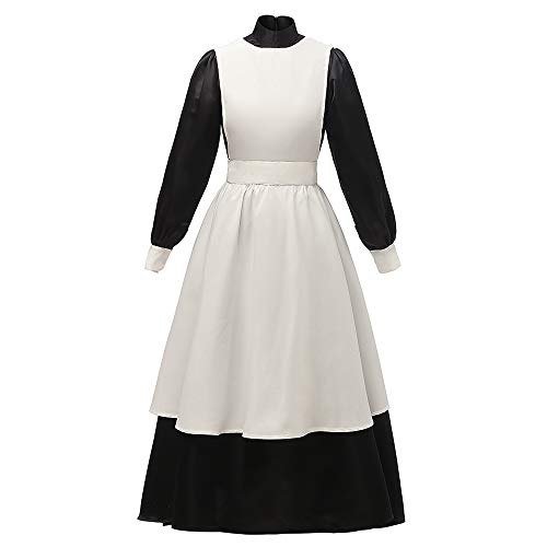 Abaowedding Women's Pioneer Costume Dress Prairie Colonial Dress White Apron Small