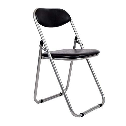 Silla plegable, ligera, de acero sintético, color negro, resistente, para oficina, jardín, restaurante, reunión, comedor, camping, sala de estar (color negro) BJY969