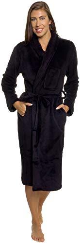 Silver Lilly Womens Bathrobe Plush Wrap Kimono Loungewear Gown (Black, XXL)