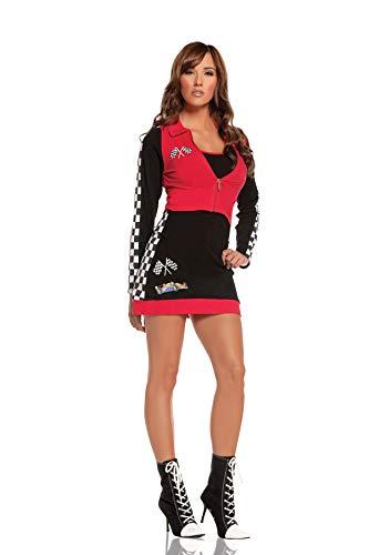 Elegant Moments Sexy Race Car Driver Costume, Black/red, Medium