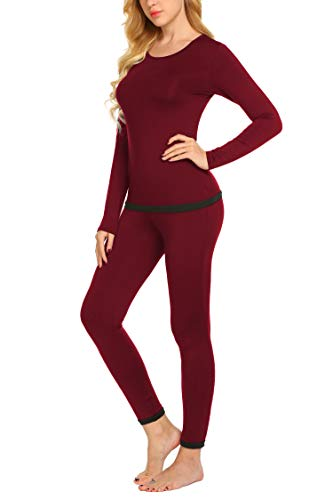 Ekouaer Womens Thermal Underwear Set Long Johns Winter Base Layer Sets (Wine Red M)