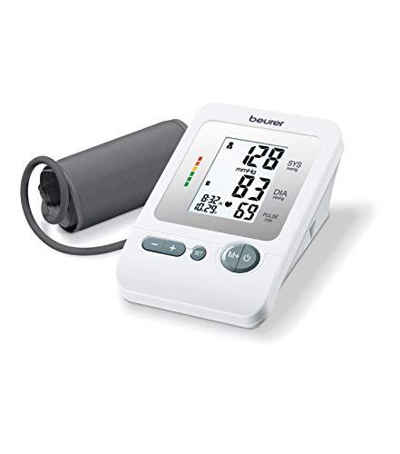Beurer BM26 - Tensiómetro de brazo, para tomar la presión arterial, con indicador de arritmia, memoria 4 x 30 mediciones, manguito 22-36 cm, color blanco