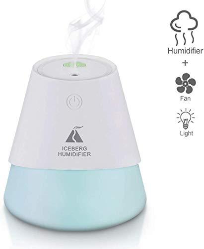 3-in-1 Mini luchtbevochtiger Slaapkamer 230ml USB Fan Light Air Diffuser met 7-kleuren LED verlichting Portable luchtbevochtiger for Baby ruimte kantoor dljyy (Color : Blue)