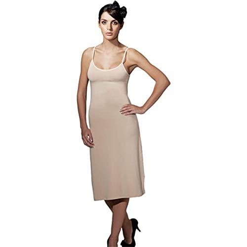 Doreanse Underwear Damen Unterkleid Midi verstellbare Träger Baumwolle Schwarz Weiß Beige (Beige, L)