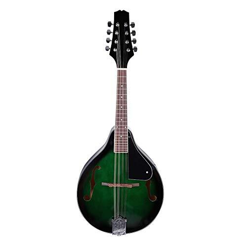 Nannday Mandolino A Style Acoustic 22 Tasti Strumento Vintage in Legno a 8 Corde con Custodia per Trasporto Verde per Bambini Principianti Adulti