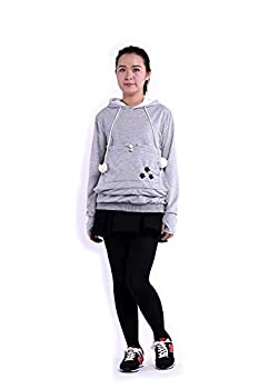 SAIANKE Womens Hoodies Pet Holder Cat Dog Kangaroo Pouch Carriers Pullover - X-Large - Grey