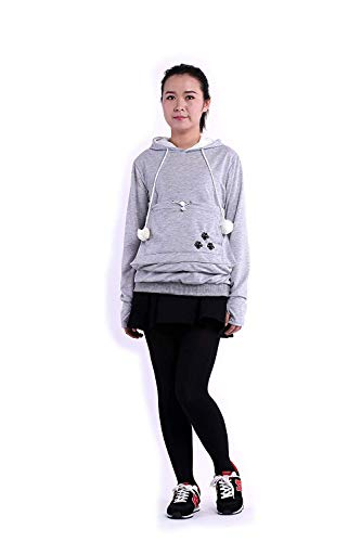 SAIANKE Womens Hoodies Pet Holder Cat Dog Kangaroo Pouch Carriers Pullover - Small - Grey