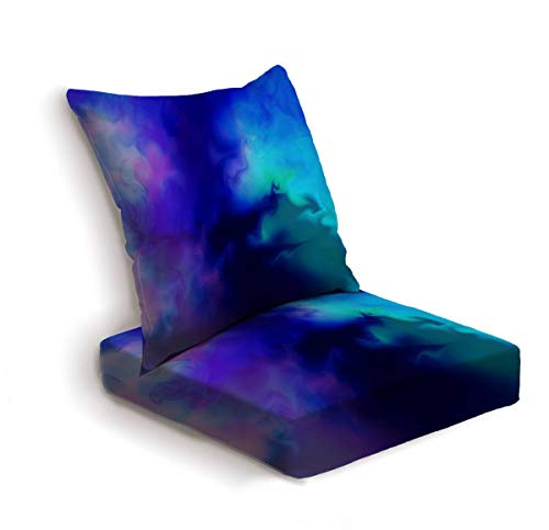 ONENPENRI 2-Piece Outdoor Deep Seat Cushion Set Blue Pink Purple and Green Swirly Abstract Background Art Back Seat Lounge Chair Conversation Cushion for Patio Furniture Replacement Seating Cushion