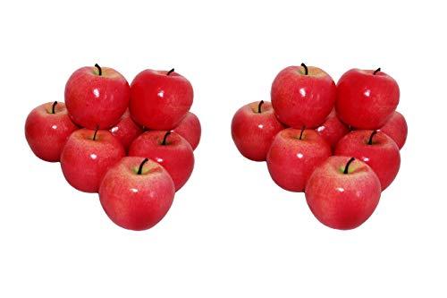 rukauf 16x Deko Äpfel Apfel ROT Kunstobst Kunstgemüse künstliches Obst Gemüse Früchte Dekoration
