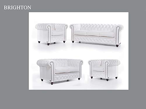 Chesterfield Canapé et fauteuil en cuir Blanc 1 / 2 / 3 places