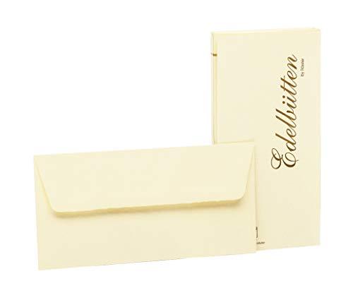 Rössler 2032388803 - Briefumschläge DIN Lang, gehämmert, 20 Stück, ivory