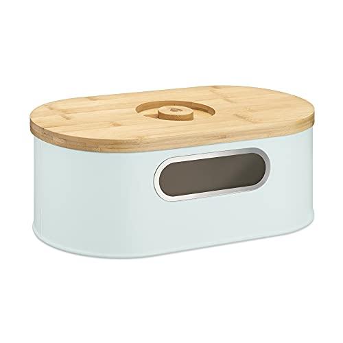 Navaris Panera con Tapa de bambú - Recipiente Vintage para Guardar Pan - Contenedor Original de Acero - Caja Alargada con Tabla de Cortar - En Verde