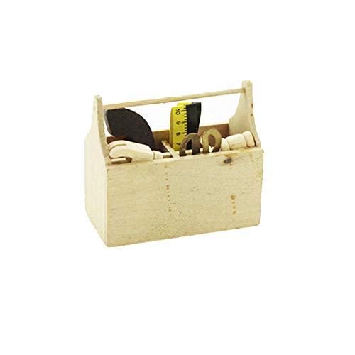 Miniatur Holz Toolbox Werkzeugkoffer Werkzeugkiste Werkzeuge Kit,Miniatur Puppenhaus Garten Möbel Zubehör für Puppenhaus Gartengeräte
