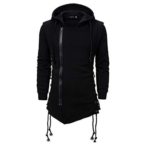 Streetwear Veste d'automne slim avec capuche, tendance punk rétro sombre mi-longue avec fermeture éclair et cordon de serrage, sangles réglables des deux côtés de la taille Veste de loisirs, Noir , L