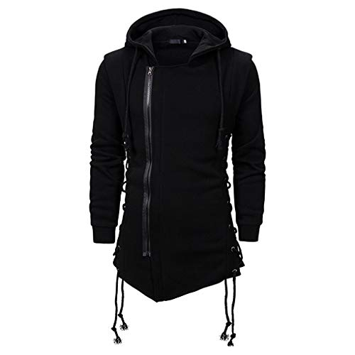 Leewa Men's Hooded Sweatshirt Gothic Side Zipper Coat Winter Dark Casual Hooded Laced Pullover Solid Color Jacket Men's