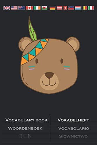 Indianer Bär mit Kopfschmuck und Feder Vokabelheft: Vokabelbuch mit 2 Spalten für Fans der amerikanischen Ureinwohner