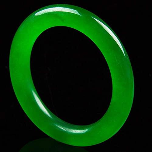 FEEE-ZC Brazalete de Jade Verde Redondo de Estilo Chino, Pulsera Fengshui para Mujer