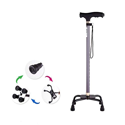 Evav Walking Stick/Walking Crutches Lightweight Aluminum Alloy Walking Canes with LED Light Ergonomic Handle 10 Adjustable Height Levels for Elderly Men or Women Disabled Cane with 4 Legs Base