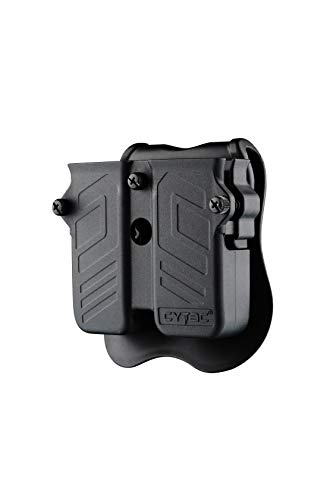 CYTAC Double Magazine Holster, Universal Magazine Pouch for 9mm/.40/.45 Caliber Double Stack Mag Holder with Adjustable Paddle fit for Glock/Sig-sauer/S&W/Beretta/Browning/Taurus/H&K Most Pistol Mags