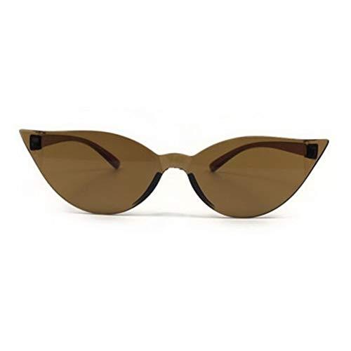 SLAKF Gafas duraderas De una Sola Pieza Diseñador Ojo de Gato Gafas de Sol de Las Mujeres de Moda Retro Atractivo de los vidrios de Sun Gafas Gafas Conductor Colorido (Color : Brown)