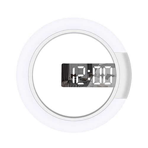 Reloj Pared con Espejo Hueco, Reloj Pared Digital Remoto, Anillo Temperatura Lámpara Multicolor Lámpara Pared Hueca Redonda 12 Pulgadas, Utilizada para La Decoración La Oficina en Casa
