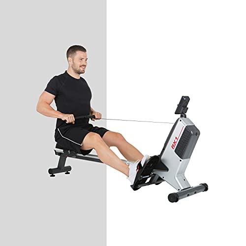 HAMMER Rudergerät RX1 für zu Hause - klappbare Rudermaschine mit Magnetbremssystem, kugelgelagertem Sitz, bis 120 kg Nutzergewicht und integriertem Pulsempfänger für Brustgurte