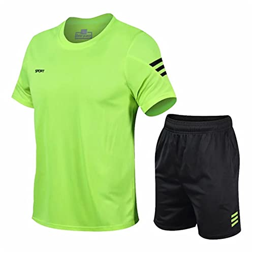 ZYOONG Juego de 2 chándal para hombre, gimnasio, fitness, bádminton, ropa deportiva, juego de ejercicios (color: verde, tamaño: L)