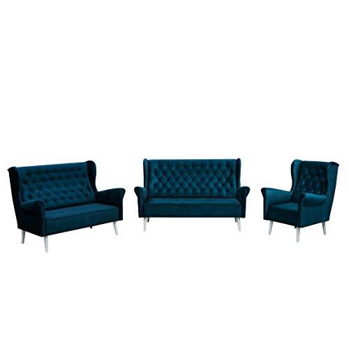 MOEBLO Ohrensofa 3 Sitzer 2 Sitzer und Sessel Sofa Couch Garnitur Stoff Samt (Velour) Glamour Wohnlandschaft Chesterfield - Velo (Dunkelblau)