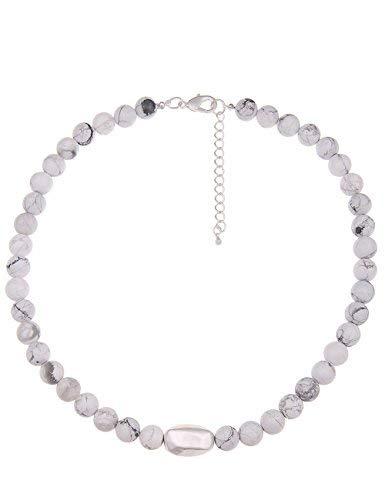 Leslii Damen Kette Stein Kugeln echter Naturstein Marmor Look Collier weiße Kurze Halskette Modeschmuck in Weiß Grau 50cm