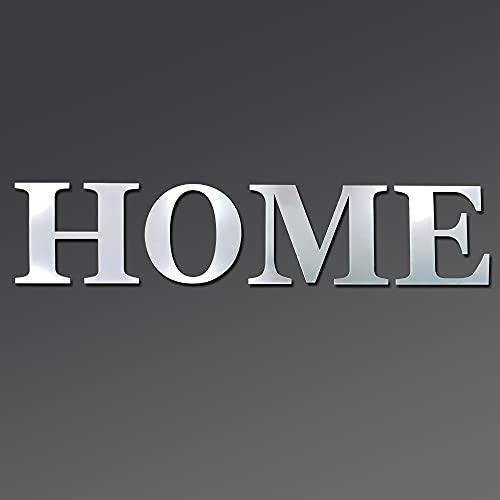 Adhesivo de pared de espejo acrílico, letras de letrero de casa, juego de espejos acrílicos, pegatinas de pared de espejo extraíbles para sala de estar, dormitorio, decoración de cocina (hogar)