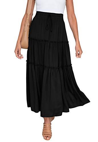 HAEOF Women's Boho Elastic High Waist A Line Ruffle Swing Beach Maxi Skirt with Pockets Black