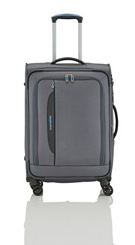 travelite 4-Rad Weichgepäck Koffer Größe M mit Dehnfalte + TSA Schloss, Gepäck Serie CROSSLITE: Robuster Trolley im Business Look, 089548-04, 67 cm, 69 Liter (erweiterbar auf 80 Liter), anthrazit