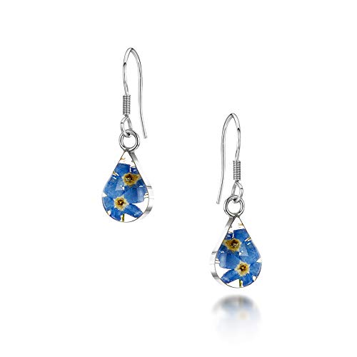 Silver drop Earrings made with real forget-me-nots - Teardrop - Includes giftbox