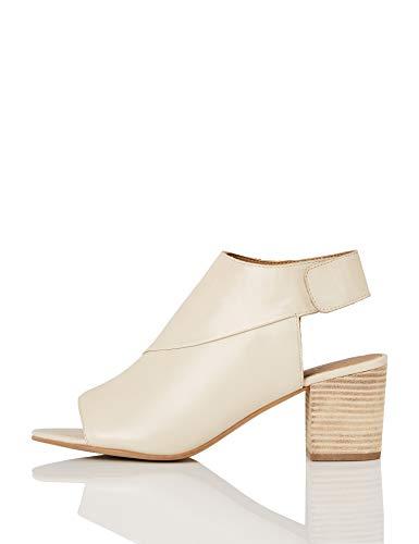 find. Shoe Boot Leather Scarpe con Cinturino alla Caviglia, Avorio (Bone), 38 EU