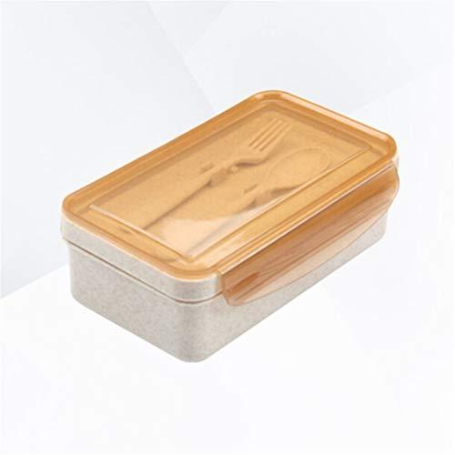 Aiglen Paja de Trigo portátil con Tenedor y Cuchara a Prueba de Fugas 2 Compartimentos Porta Alimentos Recipiente Bento Aislante