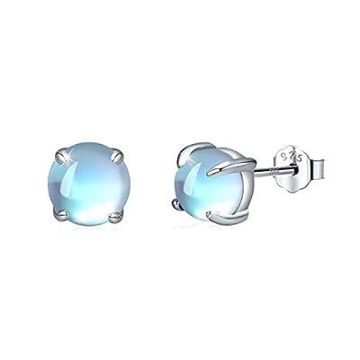 Moonstone Earrings 925 Sterling Silver Round Moonstone Stud Earrings Moonstone Jewelry for Women Hypoallergenic Earrings for Sensitive Ears (A-White Gold, 6)