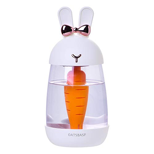 Yuejiancaos Difusor Del Humidificador 600 Ml Mini Humidificadores De Una Sola Habitación Aspecto Transparente Forma Linda Del Conejo Funcionamiento Silencioso Apagado Automático(White)