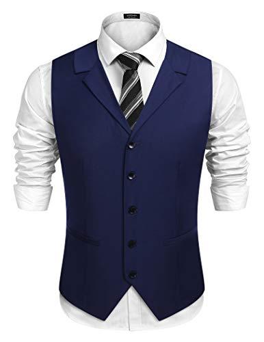 COOFANDY Herren Business Anzug Weste Slim Fit Twill Kleid Weste für Hochzeitsfeier Abendessen,Navy blau,XL