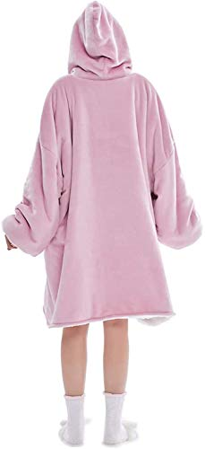 Magnesis Wearable Blanket Hoodie, Oversized Sherpa Blanket Sweatshirt with Hood Pocket and Sleeves, Super Soft Warm Comfy Plush Hooded Blanket for Adult Women Men, One Size Fits All (Pink)