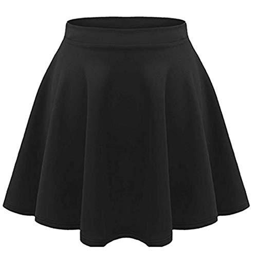 Loxdonz Girls Kids Casual Mini Stretch Waist Flared Plain Pleated Skater Skirt (11-12 Years, Black)
