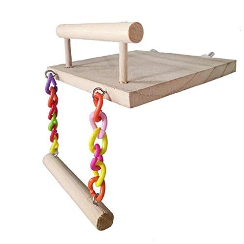 Pájaro perca Stand, juguetes de madera natural de Formación Plataforma de juegos oscilación colgante de Canarias perico loro del Cockatiel Lovebird, loro subida de escaleras Trampolín escalera Swing,