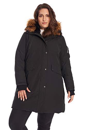 Alpine North Women's Plus Size Vegan Down Long Parka with Faux Fur Hood, Black, 1X