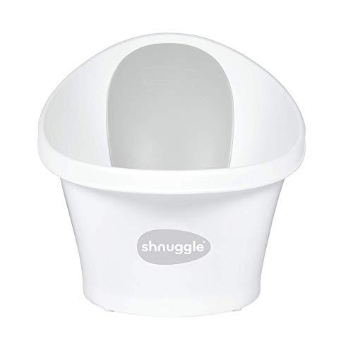 Shnuugg Badewanne für Neugeborene bis 12 Monate mit Stöpsel am Boden, weiß mit grauer Rückenlehne – 1,2 kg