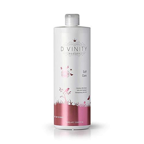 D.VINITY Soft Care - Champú Sin Sulfatos Ni Siliconas, Cabellos Sensibles, Champú para Pelo Suave y Delicado, Hidrata y Repara, 1000ml