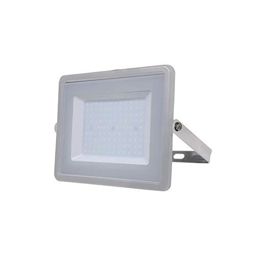 V-TAC 100W Wasserfester Fluter Outdoor Außenstrahler LED-strahler Graues Gehäuse, Graues Glas IP65 6400K Weiß 8000 Lumen [Energieklasse A+]