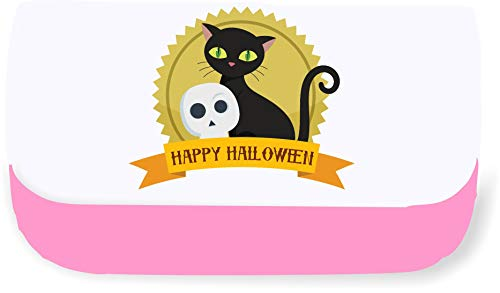 Happy Halloween Trophy Style Cat and Skull Clutch Style Pencil case - Pink