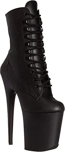 Flamingo-1020 Enkel laars met schoenveters en plateau zwart mat - Gothic Glamrock