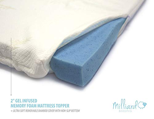 """Milliard Gel Memory Foam Mattress Topper – 2 Inches Thick with Premium 2.5 Pound Density and a Cover That's Removable and Washable – Twin – 73""""37""""2"""