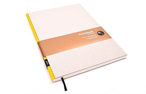 Notizbuch A4 hardcover | Öko Gelb | Skizzenbuch A5 blanko | Journal A5 | nachhaltige Notizbücher | Öko-look Natur-Design